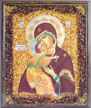 Икона,  украшенная янтарем