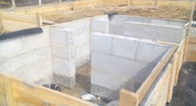 Работы по устройству опалубки,  заливке фундамента,  кладки стен