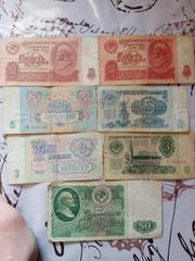 Банкноты 1961 года 5 рублей 3 рубля 10 рублей 50 рублей